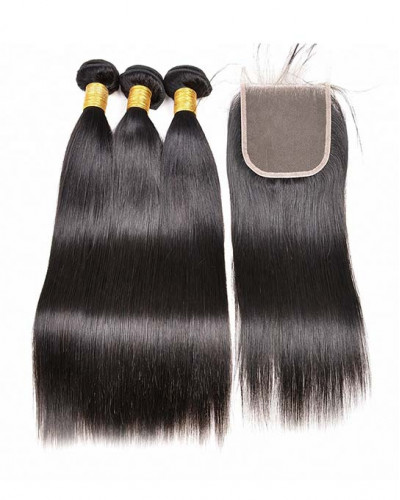 3 Bundles Silky Straight Brazilian Virgin Hair Weaves With A Lace Closure