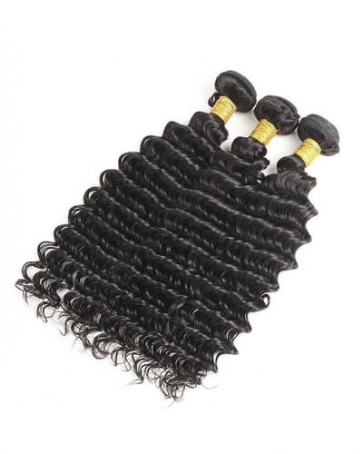 3 Bundles Deep Wave Brazilian Virgin Hair Weaves With A Lace Frontal