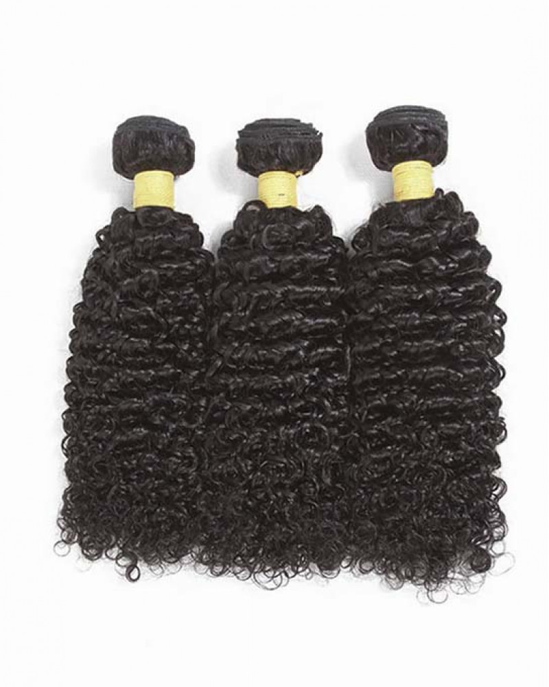 3 Bundles Kinky Curly Brazilian Virgin Hair Weaves With A Lace Frontal