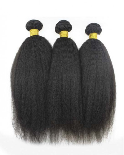 3 Bundles Kinky Straight Brazilian Virgin Hair Weaves With A Lace Frontal