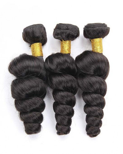 3 Bundles Loose Wave Brazilian Virgin Hair Weaves With A Lace Frontal