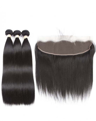 3 Bundles Silky Straight Brazilian Virgin Hair Weaves With A Lace Frontal