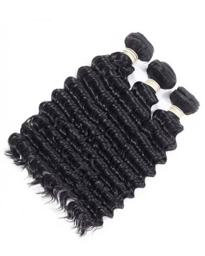 Indian Virgin Hair Weave Natural Color Deep Wave 3pcs Bundles