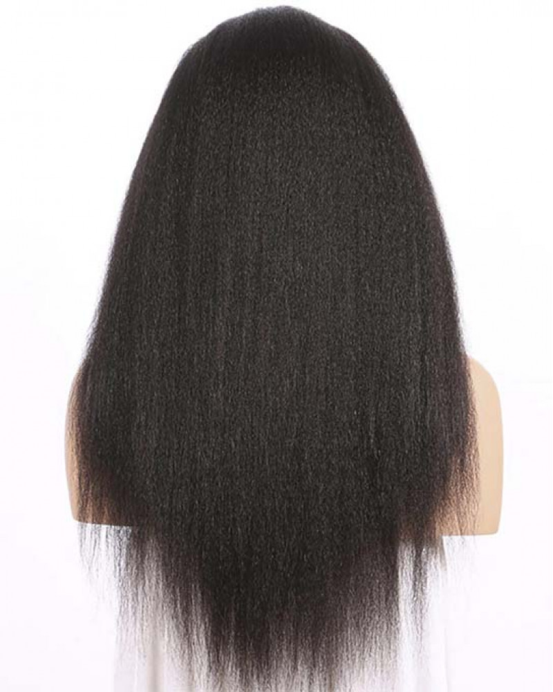 100% Human Hair Kinky Straight 150% Density 360 Lace Wigs