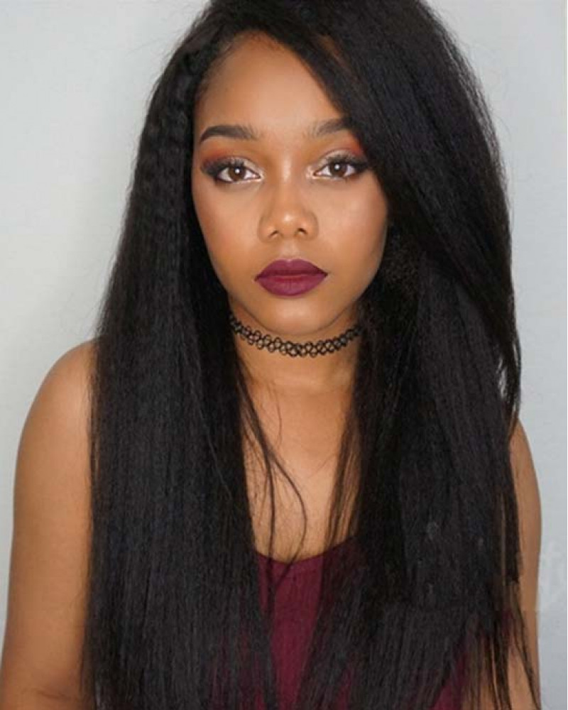 Affordable 130% Density Virgin Brazilian Hair Kinky Straight 360 Lace Wigs