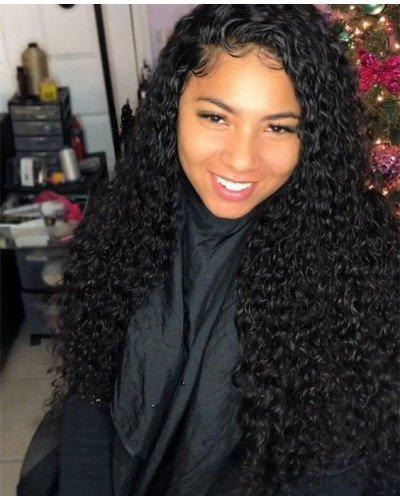 Natural Hairline Deep Curly 150% Density 360 Lace Wigs