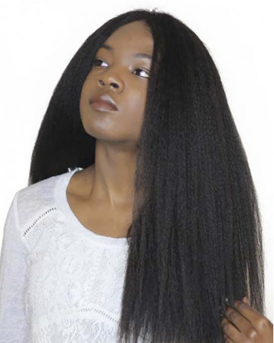 Pre-Plucked Full Lace Wig Kinky Straight 130% density Indian Virgin Hair