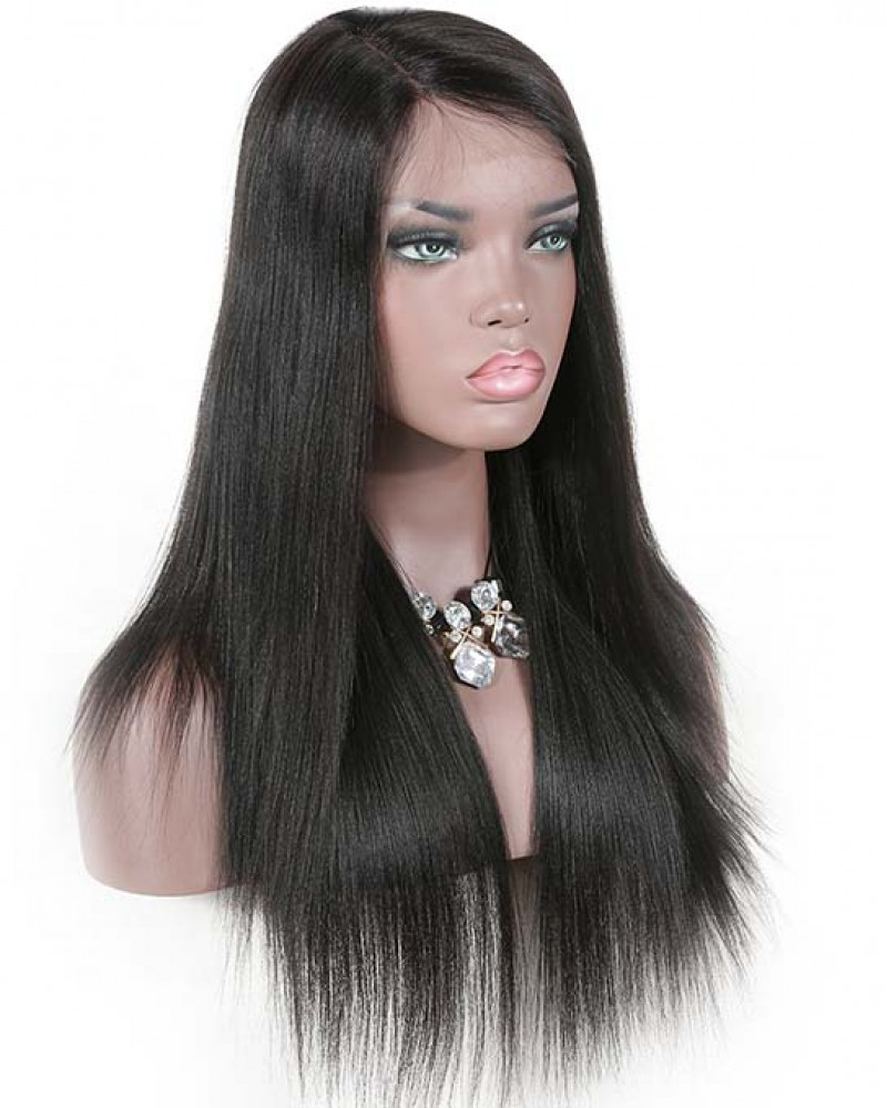 Brazilian human hair Yaki Straight 150% Density Full Lace Wig