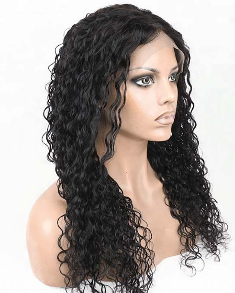 Loose Curly Natural Color Malaysian Human Hair Full Lace Wigs