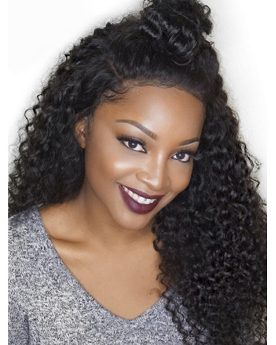 Pre Plucked Kinky Curly Brazilian Virgin Hair Lace Front Wigs