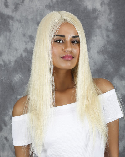 Blonde 18 inch 150% Density Silk Straight Lace Front Wig