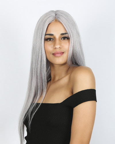 Grey Color 20 inch 150% Density Silk Straight Lace Front Wig