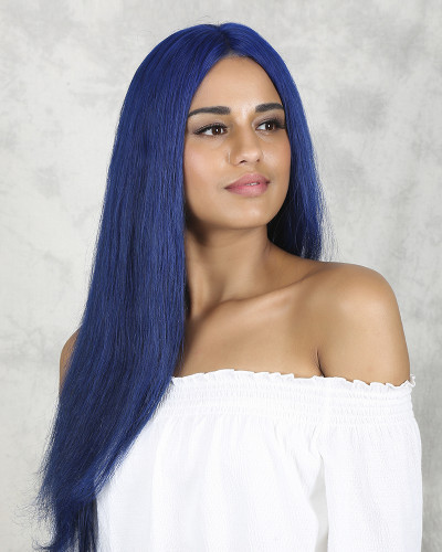 Blue Color 22 inch 150% Density Silk Straight Lace Front Wig