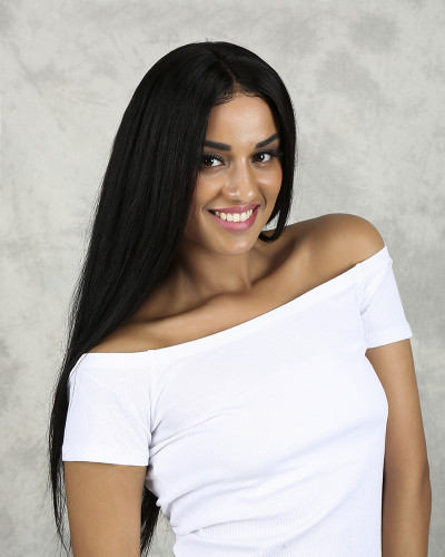 22 inch Silk Straight 150% Density Natural Color Lace Front Wig