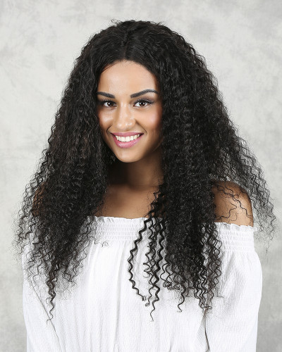 22 inch 150% Density Kinky Curly Natural Color Lace Front Wig